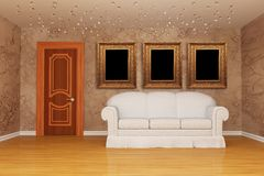 Room with door, white couch and picture frames Stock Images