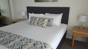 Comfortable double bedroom of my fantastic luxurious apartment at the Alpha Sovereign Resort, North Surfers Paradise, Qld, Aust stock photography