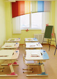 Room for drawing lessons in the kindergarten Stock Photos
