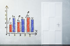 Room with the drawn growing graph on the wall and door. Mock up Stock Images