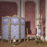 Room with a dressing screen. Vintage room with a dressing screen, candelabra and roses royalty free illustration