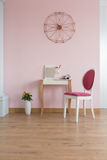 Room with dressing table. Pink room with dressing table and wood floor panels stock photos