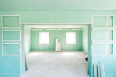 Room with drywall. Empty room with drywall. repairs in the house Royalty Free Stock Photo