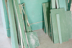 Room with drywall. The remains of the drywall. repairs in the house Stock Photography