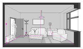 Room with electric installations and furniture Royalty Free Stock Photography