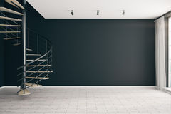 Room with empty black wall Stock Images