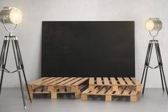Room with empty blackboard billboard and lighting Stock Photo