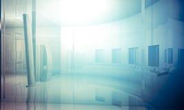 Room.Empty bureau met kolommen en grote vensters, Binnenbuildin Royalty-vrije Stock Fotografie