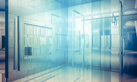 Room.Empty office with columns and large windows, Indoor buildin. G. business space with blue light effects Royalty Free Stock Photos