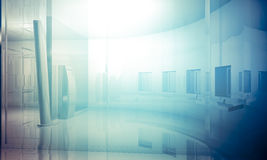 Room.Empty office with columns and large windows, Indoor buildin Royalty Free Stock Photography