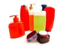 Room en gekleurde flessen met gel op wit Royalty-vrije Stock Afbeelding