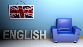 Room of english language - 3D rendering. In a room there is a blue armchair and a picture of the english flag is hanging on the blue wall. On the pavement Stock Image