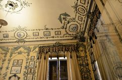 Room entirely lined with fabric in the imperial palace of Vienna Stock Photo