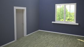 Room with entrance door and window, blue wall and light parquet, glazed window overlooking a park. Empty room at the first light o. F the morning. 3d rendering Stock Photos