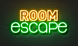 Room escape neon sign on brick wall background. Room escape neon sign on brick wall background stock photography