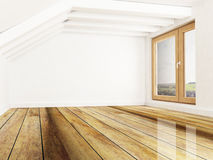 Room with exposed beams and window royalty free illustration