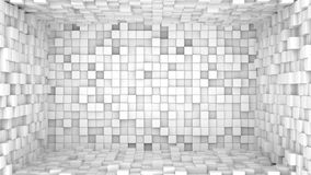 Room of extruded white cubes. Abstract 3D render. Room of extruded white cubes. Abstract geometric 3D render background Royalty Free Stock Photo
