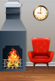 Room with fireplace and armchair. Illustration Stock Photos