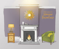Room with fireplace armchairs Stock Photography