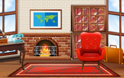 Room with fireplace and bookshelves Stock Photo