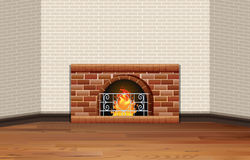 Room with fireplace and brick wall. Illustration Stock Photo