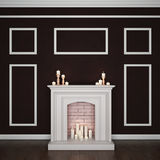 Room with fireplace and candles. 3D rendering Royalty Free Stock Photography
