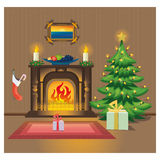 Room with fireplace on Christmas. Christmas room with fireplace, fruit, Christmas tree and gifts Royalty Free Stock Photography