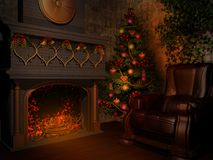 Room with fireplace Royalty Free Stock Image