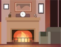 Room with fireplace and furniture. Vector illustration Stock Photo