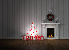 Room with fireplace and gifts Stock Images