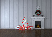 Room with fireplace and gifts Royalty Free Stock Image