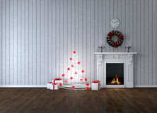 Room with fireplace and gifts Royalty Free Stock Photos