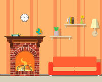 Room with fireplace. Inside of the room with a fireplace. Vector illustration Royalty Free Stock Photography
