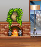 Room with fireplace and lantern. Illustration Stock Photo