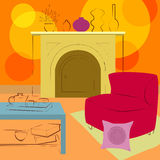 Room with fireplace. Modern and simple interior Stock Image