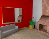 Room with fireplace and sofa Stock Photography