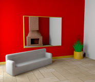 Room with fireplace and sofa Stock Photos