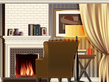 Room with fireplace Royalty Free Stock Photos