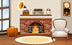 Room with fireplace and vintage furniture. Illustration Royalty Free Stock Images