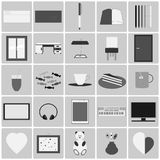 Room flat icons set. Flat Icons that are usually in one room Stock Photo