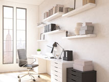 Room in flat. Table for work, shelves above. Concept of workplace. New York view in windows. 3D render Stock Photo