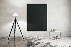 Room with floor lamp and chalkboard. Front view of concrete interior with floor lamp, coffee table and empty chalkboard. Mock up, 3D Rendering Stock Photography