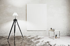 Room with floor lamp and poster. Front view of concrete interior with floor lamp, coffee table and empty poster. Mock up, 3D Rendering Stock Image