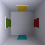 Room with four doors, top view. 3d illustration. Stock Photos