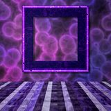 Room with frame. Violet room with violet frame and crazy wall Royalty Free Stock Image