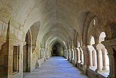 Room In French Abbey. Old collonaded hall  in the Abbaye de Fontenay in Burgundy France Royalty Free Stock Photos