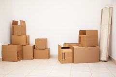 Room full of boxes Royalty Free Stock Photography