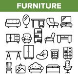Room Furniture Line Icon Set Vector. Interior Cabinet Design. Home Room Furniture Elements. Thin Outline Web royalty free illustration