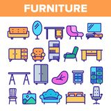 Room Furniture Line Icon Set Vector. Interior Cabinet Design. Home Room Furniture Elements. Thin Outline Web vector illustration