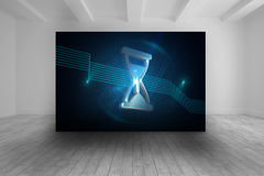 Room with futuristic picture of hourglass Royalty Free Stock Photography